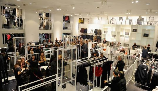 FLORENCE, ITALY - NOVEMBER 05: The store is emptied by customers during the H&M during the Balmain For H&M Collection Launch near Piazza della Signoria on November 5, 2015 in Florence, Italy.  (Photo by Laura Lezza/Getty Images)