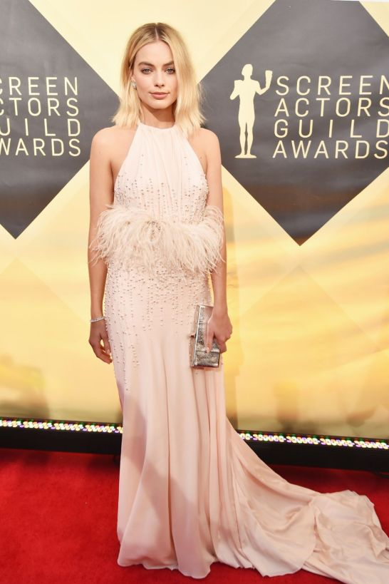 white feather dress SAG Award 2018